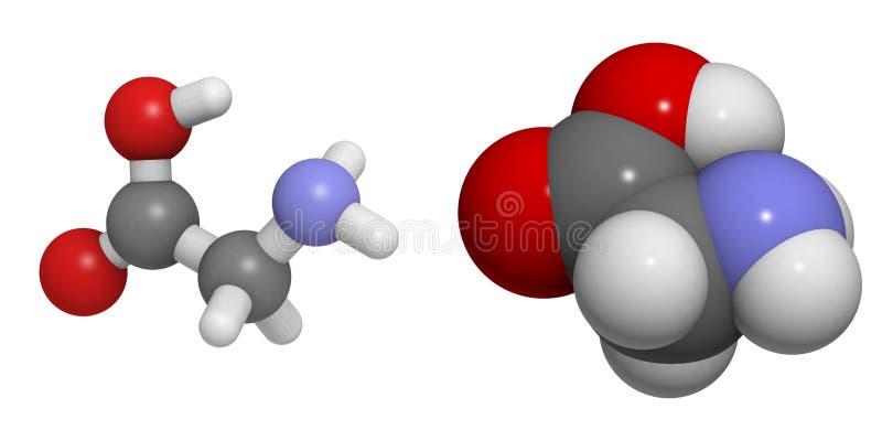 Van de glycine (Gly, G) de molecule royalty-vrije illustratie