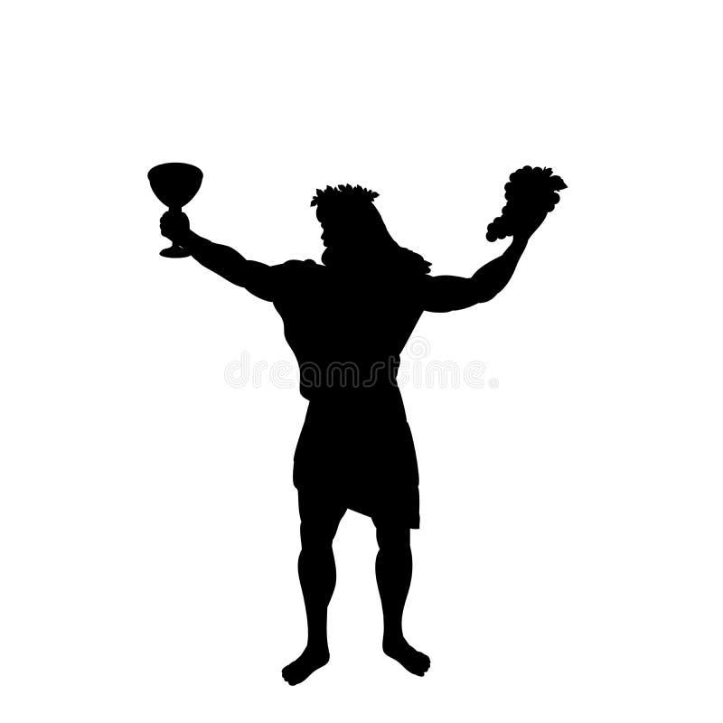 Van de de godswijn van Dionysusbacchus fantasie van de het silhouet de oude mythologie royalty-vrije illustratie