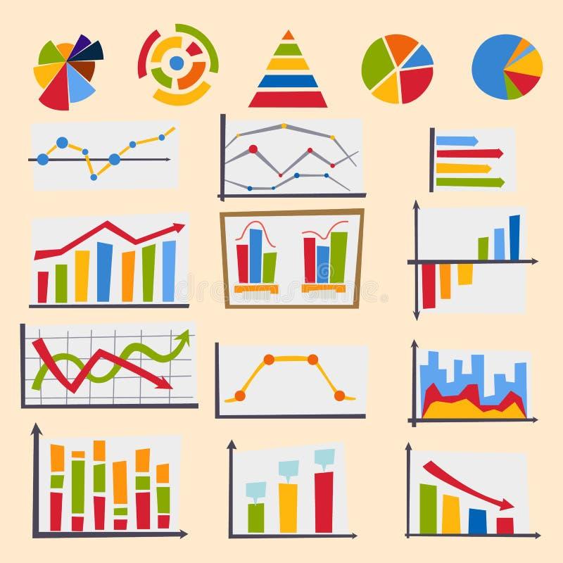 Van de grafiekelementen van het ontwerpdiagram de vectorillustratie van van de grafiekinfographics van het bedrijfsstroomblad de  stock illustratie