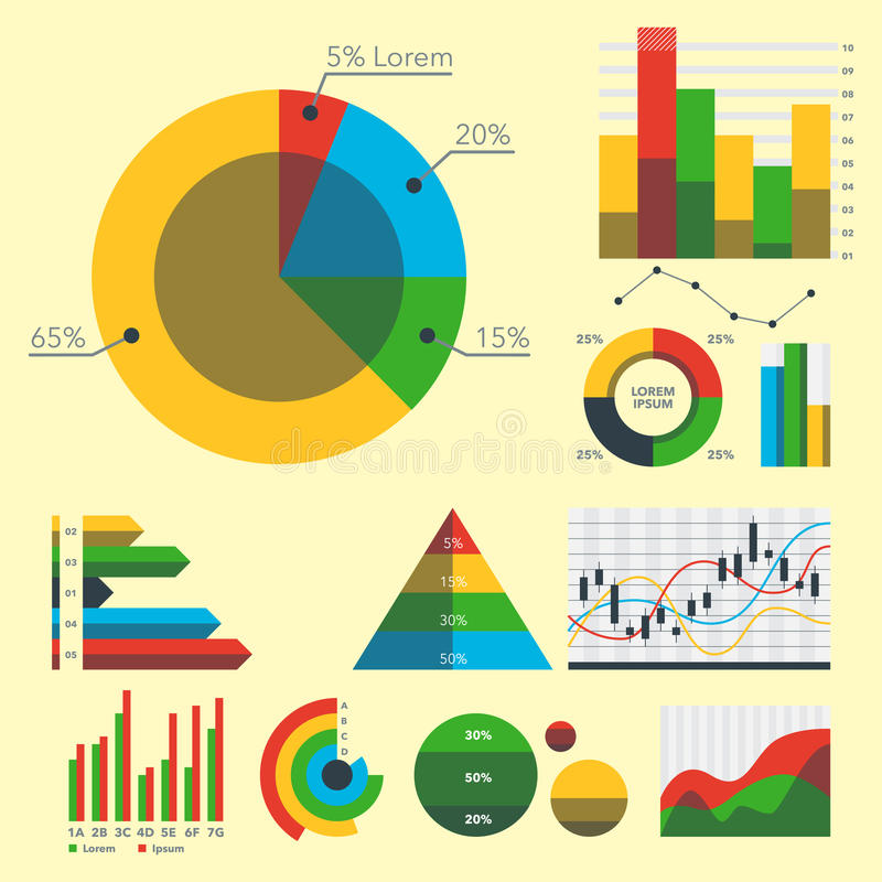 Van de grafiekelementen van het ontwerpdiagram de vectorillustratie van van de grafiekinfographics van het bedrijfsstroomblad de  vector illustratie