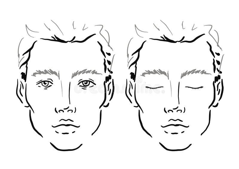 Van de de grafiekmake-up van het mensengezicht de Kunstenaar Blank malplaatje royalty-vrije illustratie