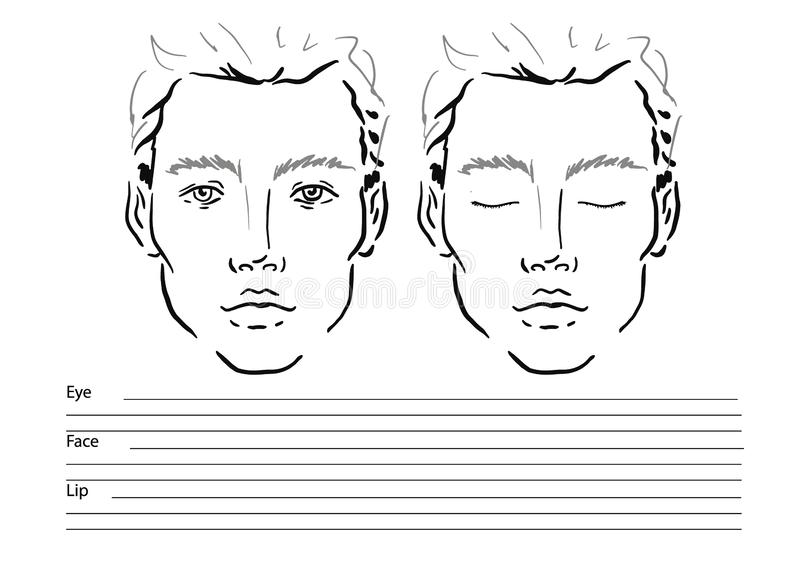 Van de de grafiekmake-up van het mensengezicht de Kunstenaar Blank malplaatje stock illustratie