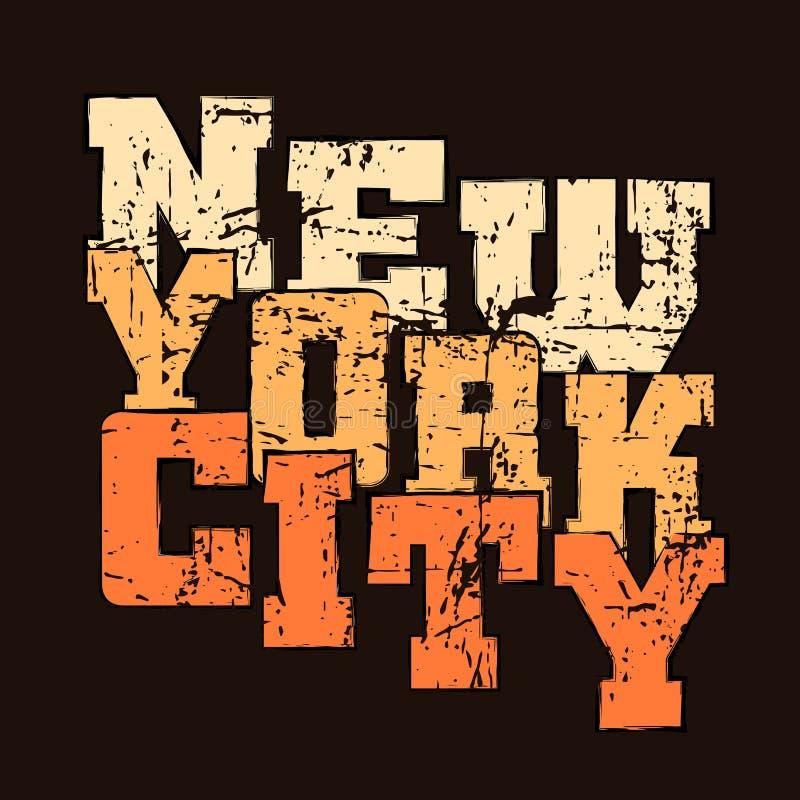 Van de grafieknew york van de t-shirttypografie de Atletische stijl NYC vector illustratie