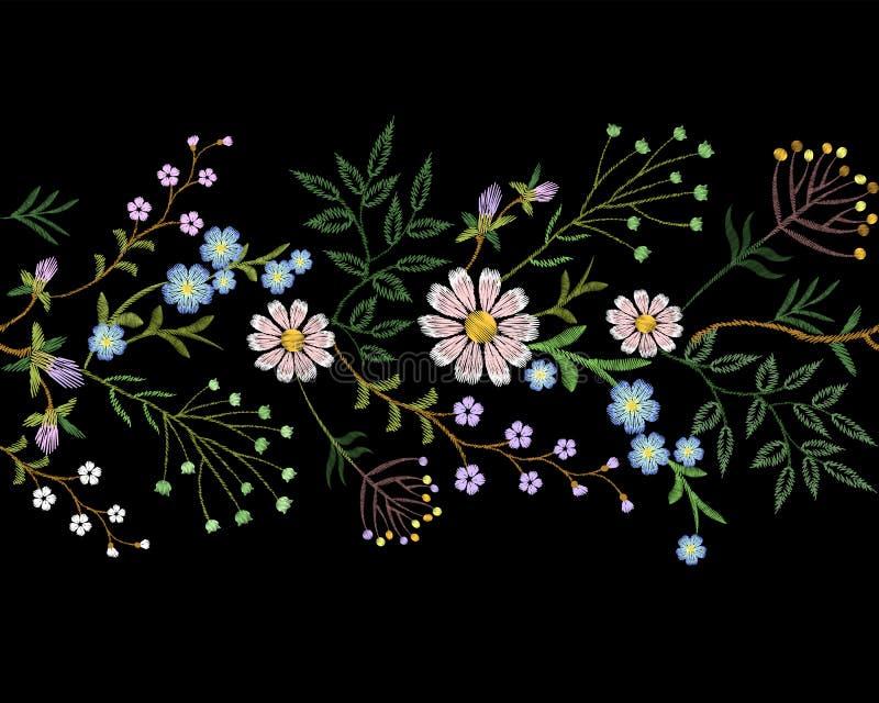 Van de grens klein takken van de borduurwerktendens bloemen het kruidblad met weinig blauwe violette kamille van het bloemmadelie stock illustratie