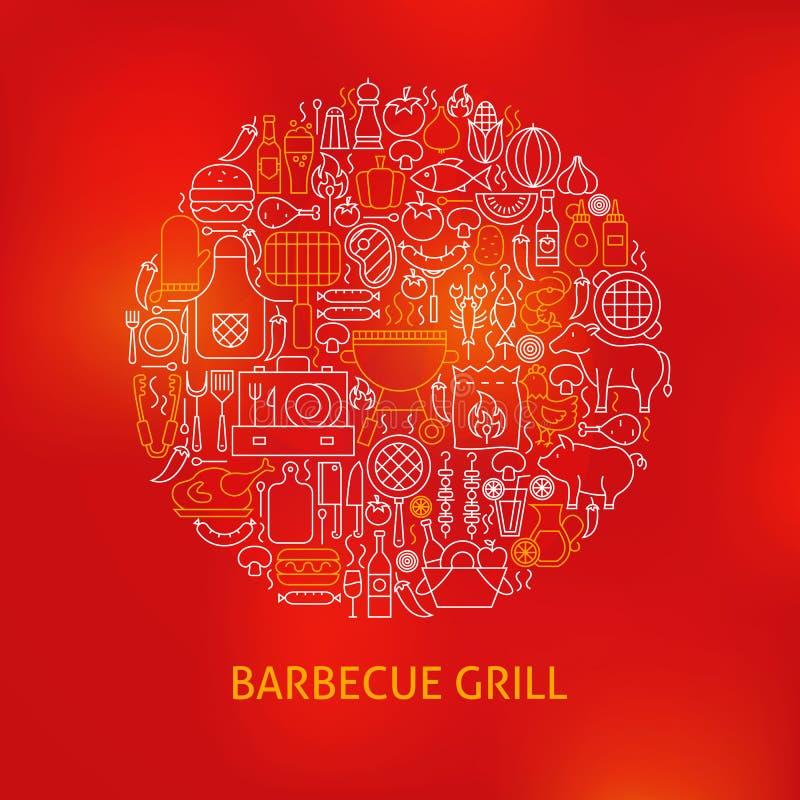 Van de Grillpictogrammen van de lijnbarbecue de Cirkelconcept vector illustratie