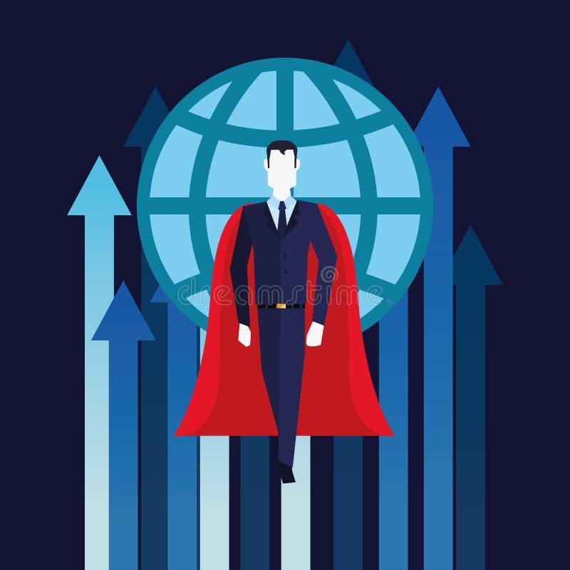 Van de groeipijlen van zakenmansuperhero vliegende de wereldzaken stock illustratie