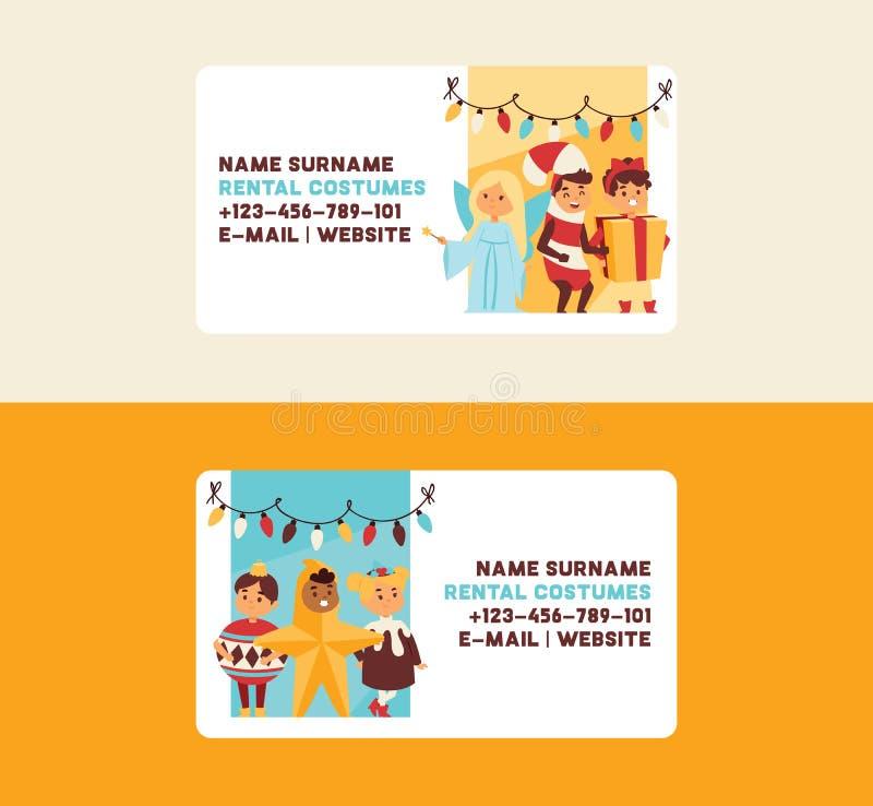 Van de de groetkaart van het Kerstmis 2019 de Gelukkige Nieuwjaar van de jonge geitjeskinderen gelukkige van de het kostuumgebeur royalty-vrije illustratie