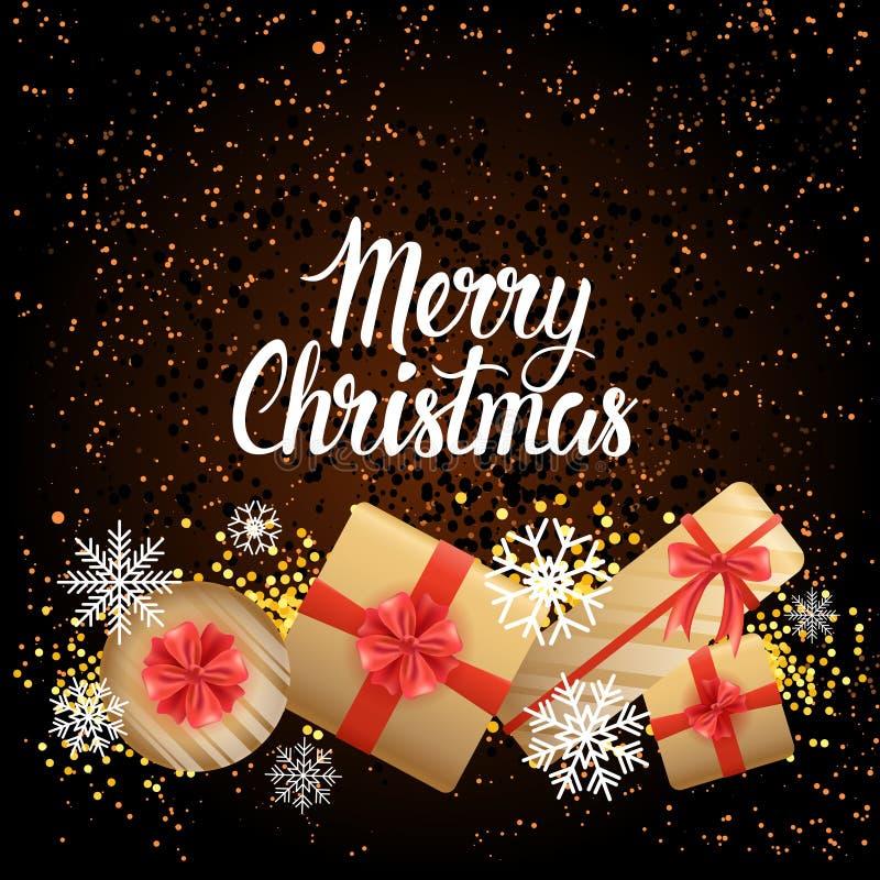 Van de de Groetkaart van de de wintervakantie Vrolijke Kerstmisaffiche met Verschillende Giftvakjes op Achtergrond vector illustratie