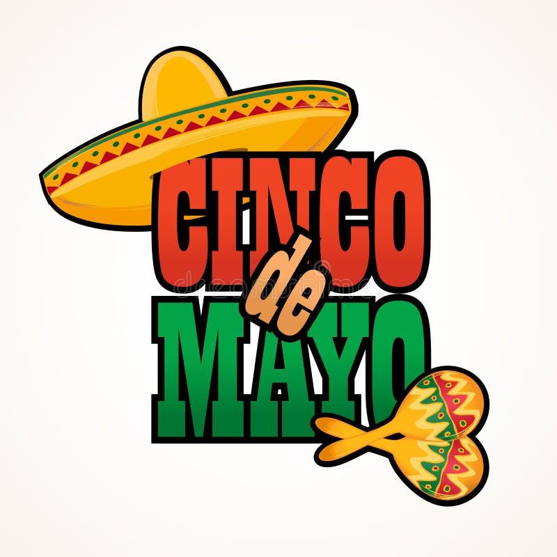 Van de de groettekst van Cinco de Mayo de van letters voorziende vectorillustratie vector illustratie