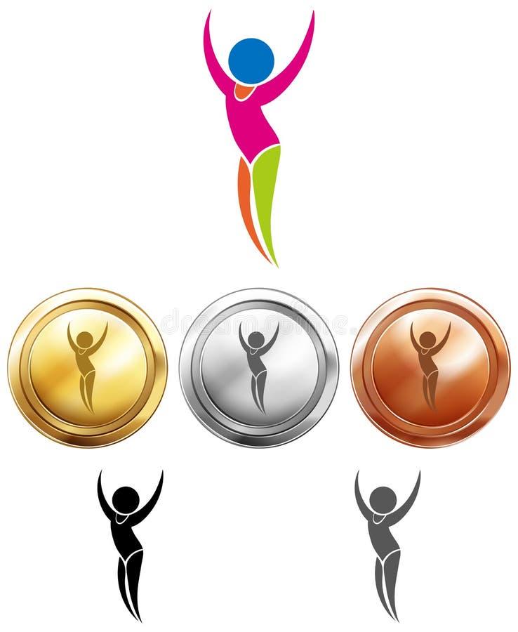 Van de gymnastiekpictogram en sport medailles royalty-vrije illustratie