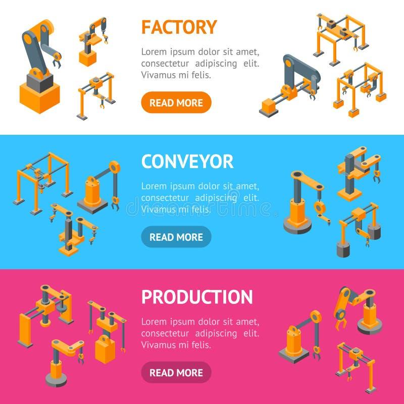 Van de de Handbanner van transportbandmachines de Robotachtige Mening van SetIsometric Horizontale Vector royalty-vrije illustratie