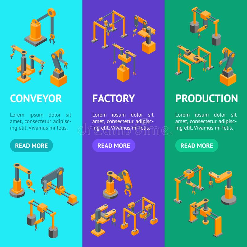 Van de de Handbanner van transportbandmachines de Robotachtige Mening van Vecrtical Vastgestelde Isometrische Vector vector illustratie