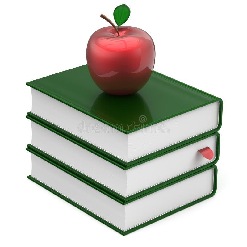 Van de de handboekenstapel van de boeken groen leeg referentie de appel rood pictogram royalty-vrije illustratie
