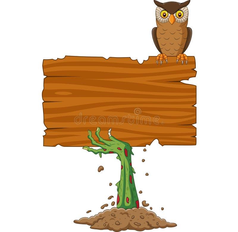 Van de de handholding van de beeldverhaalzombie het lege teken met uilvogel stock illustratie