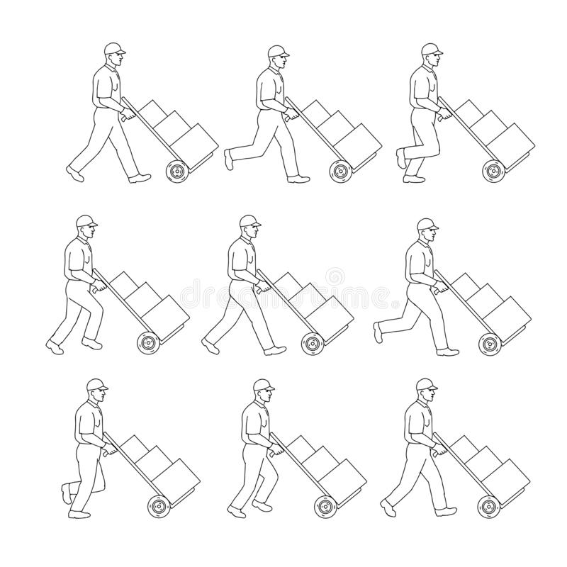 Van de de Handkar van de leveringsarbeider de Duwende Tekening van de de Gangopeenvolging vector illustratie