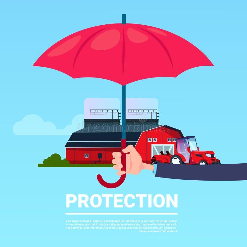 Van de de handparaplu van de verzekeringsdienst landbouw van het de tractorlandbouwbedrijf de beschermende op blauwe achtergrond  vector illustratie