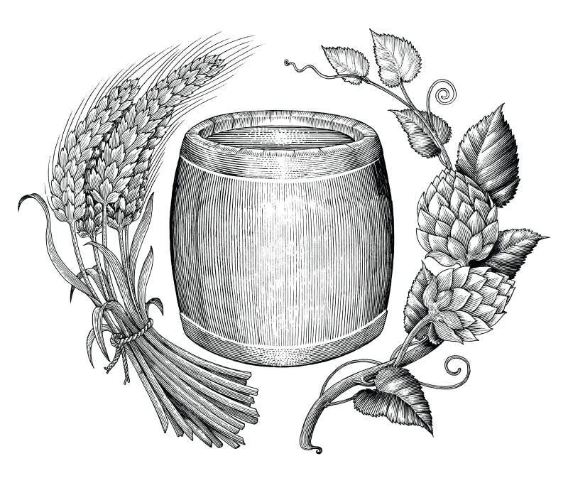 Van de de handtekening van het bierembleem uitstekende de gravurestijl stock illustratie