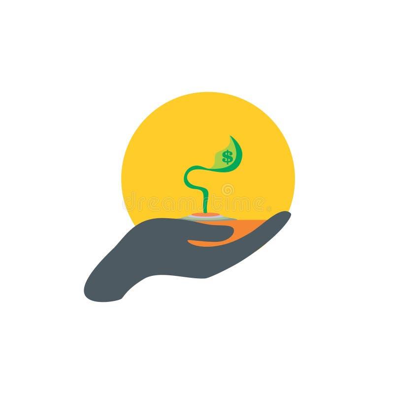 Van de de handzorg van de knopinstallatie eenvoudige het embleemvector royalty-vrije illustratie