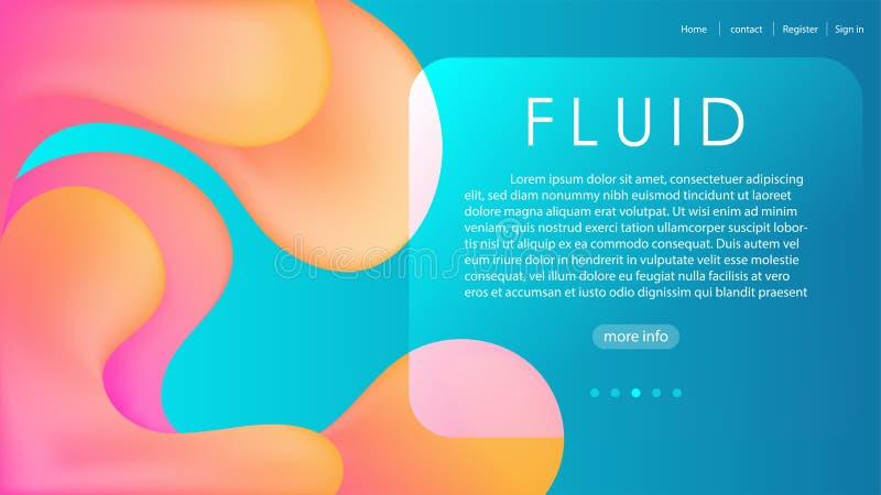 Van de de hemel blauwe gele roze vloeibare stroom van de elegantiereclame de gradiënt abstracte achtergrond, het modieuze Web soc royalty-vrije illustratie