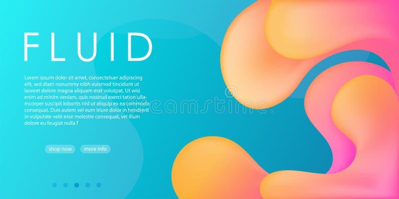 Van de de hemel blauwe gele roze vloeibare stroom van de elegantiereclame de gradiënt abstracte achtergrond, het modieuze Web soc vector illustratie