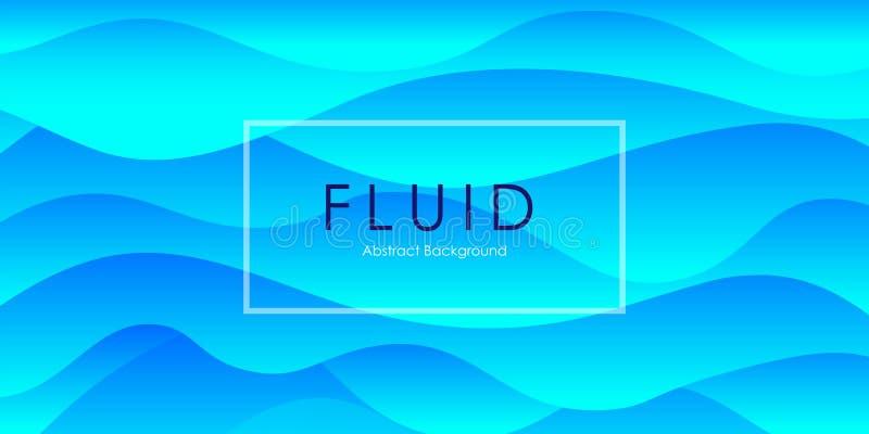 Van de de hemel blauwe gradiënt van de elegantie behandelt de vloeibare stroom de zomer abstracte achtergrond, het modieuze Web s stock illustratie