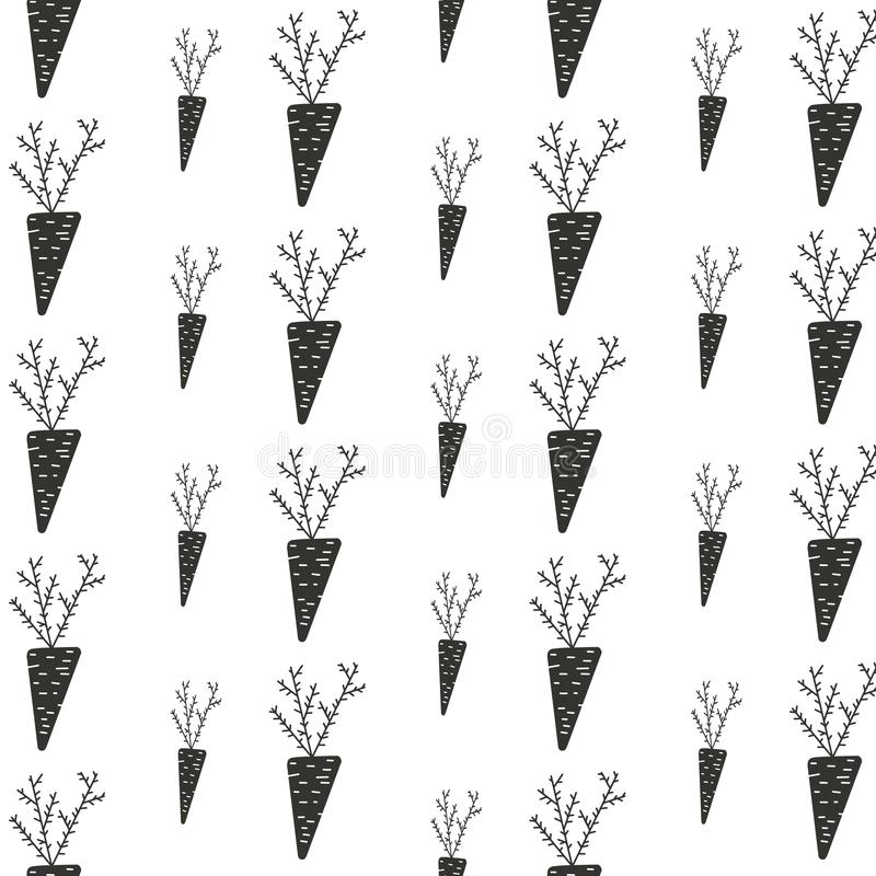 Van de de herfstoogst van het patroonornament van de wortelaugustus zwarte de installatie moestuin op witte achtergrond stock illustratie