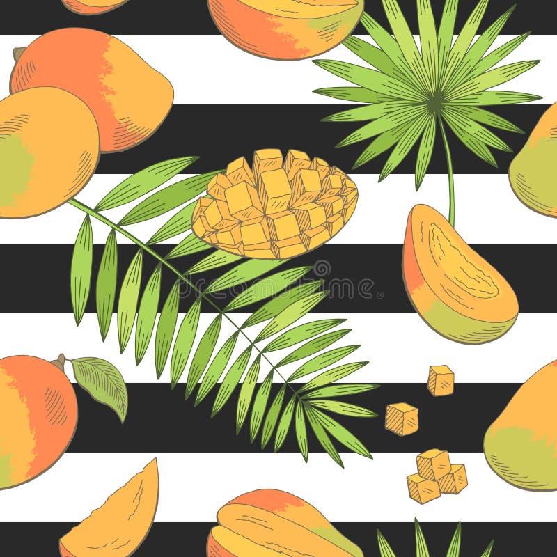 Van de het achtergrond palmblad de grafische kleur van het mangofruit vector het patroon van de naadloze schetsillustratie stock illustratie