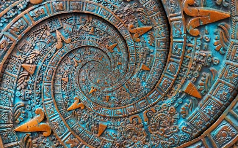 Van de het achtergrond patroondecoratie van het brons oude antieke klassieke dubbele spiraalvormige Azteekse ornament het ontwerp stock afbeelding