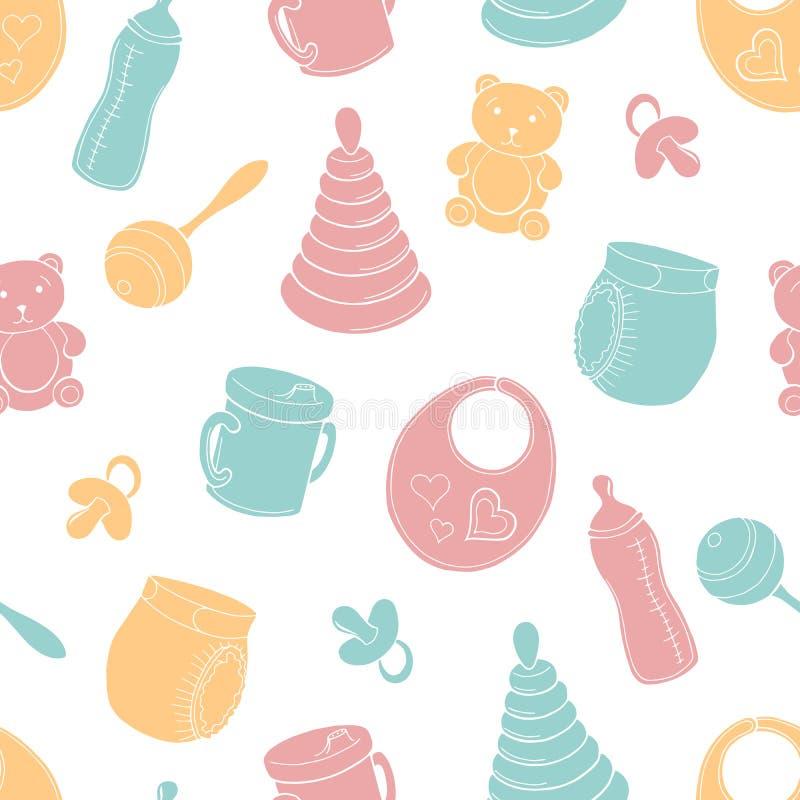 Van de het achtergrond patroonschets van de baby grafische kleur naadloze illustratievector vector illustratie