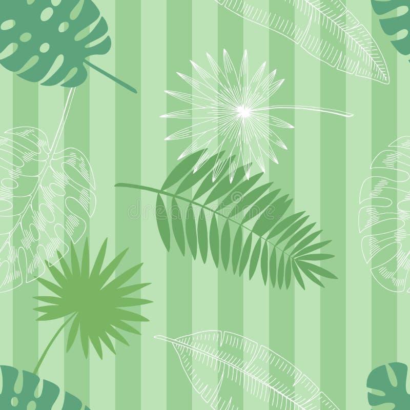 Van de het achtergrond patroonschets van de palmblad grafische groene kleur naadloze illustratievector royalty-vrije illustratie