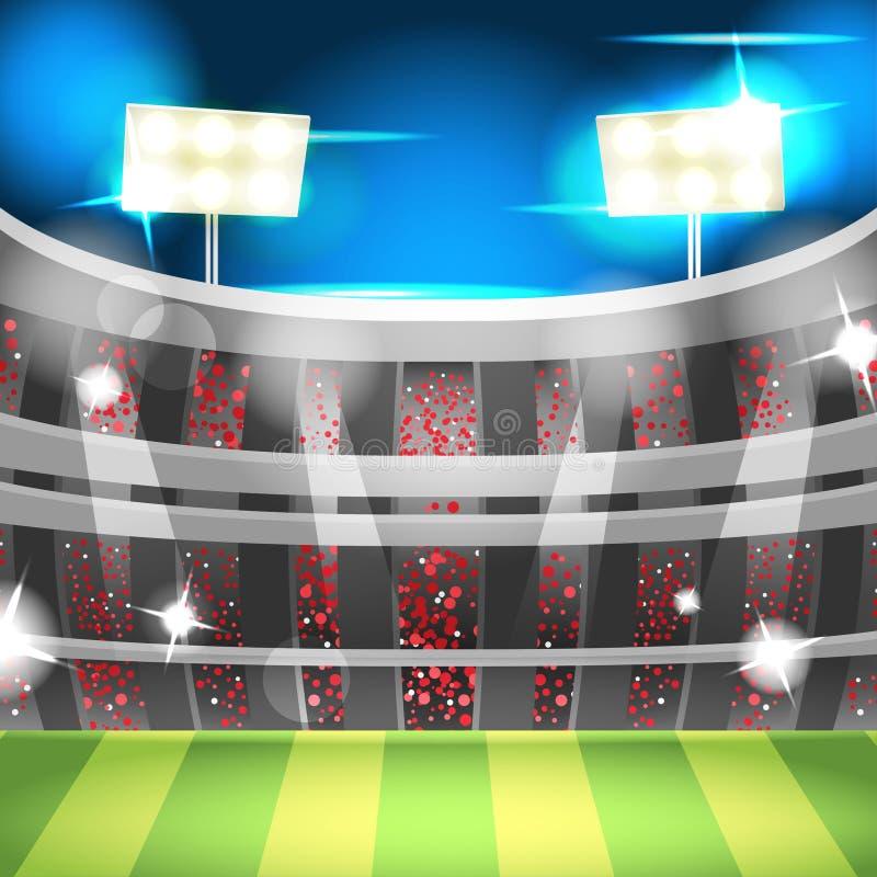 Van de het Achtergrond stadionsport van de voetbalnacht Vector royalty-vrije illustratie