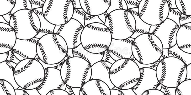 Van de het achtergrond tennisbal van het honkbal isoleerde de Naadloze patroon vector de tegel behangsjaal grafisch wit vector illustratie