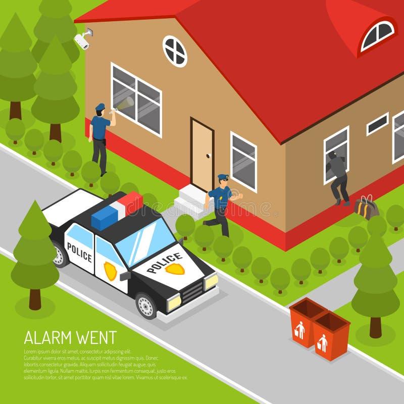 Van de het Alarmreactie van de huisveiligheid de Isometrische Illustratie stock illustratie