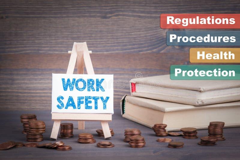 Van de het bedrijfs werkveiligheid Concept Miniatuurschildersezel met pasmunt royalty-vrije stock afbeeldingen