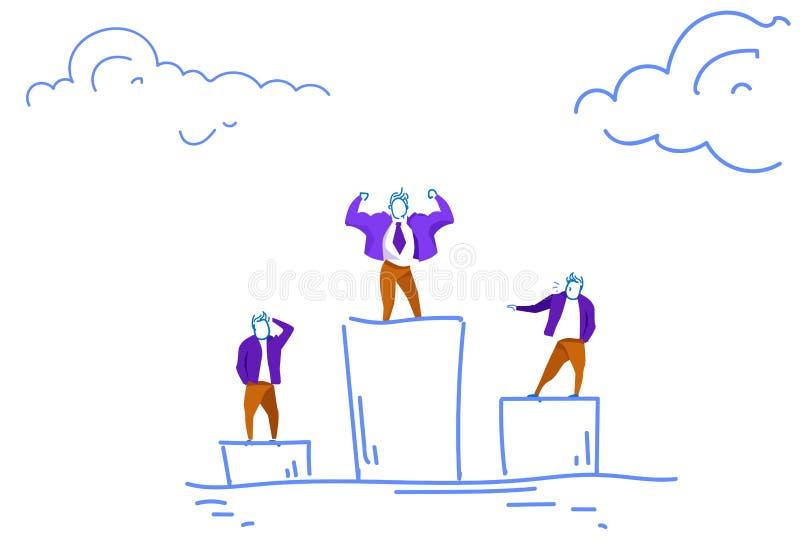 Van de van het bedrijfs zakenman de bevindende podium van de het conceptenleider de concurrentie eerste plaats schets van de de o vector illustratie
