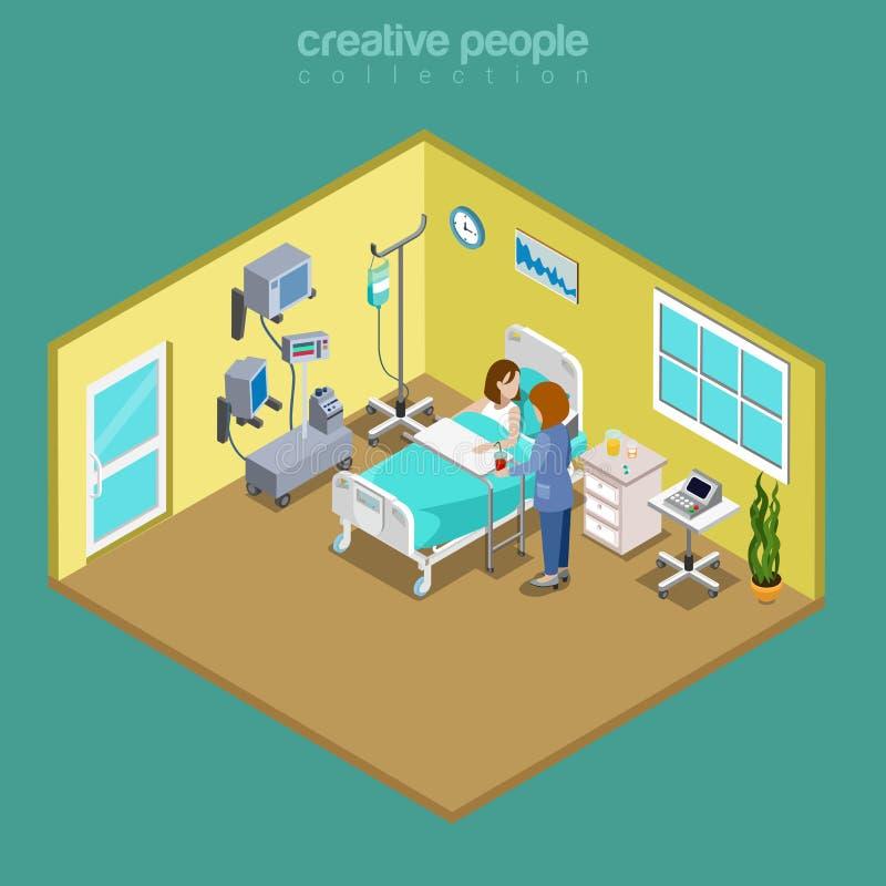 Van de het bedverpleegster van de het ziekenhuisafdeling geduldige de zorg vlakke isometrische vector 3d vector illustratie