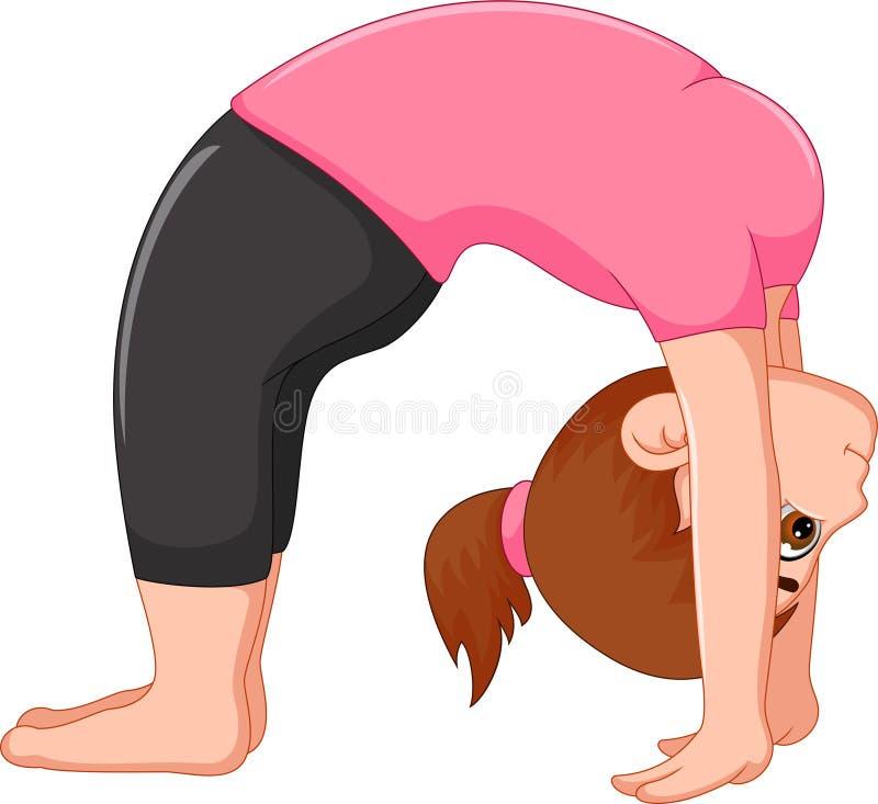 Van de het beeldverhaal exercing yoga van de schoonheidsvrouw de sportzitting met omhoog blik stock illustratie