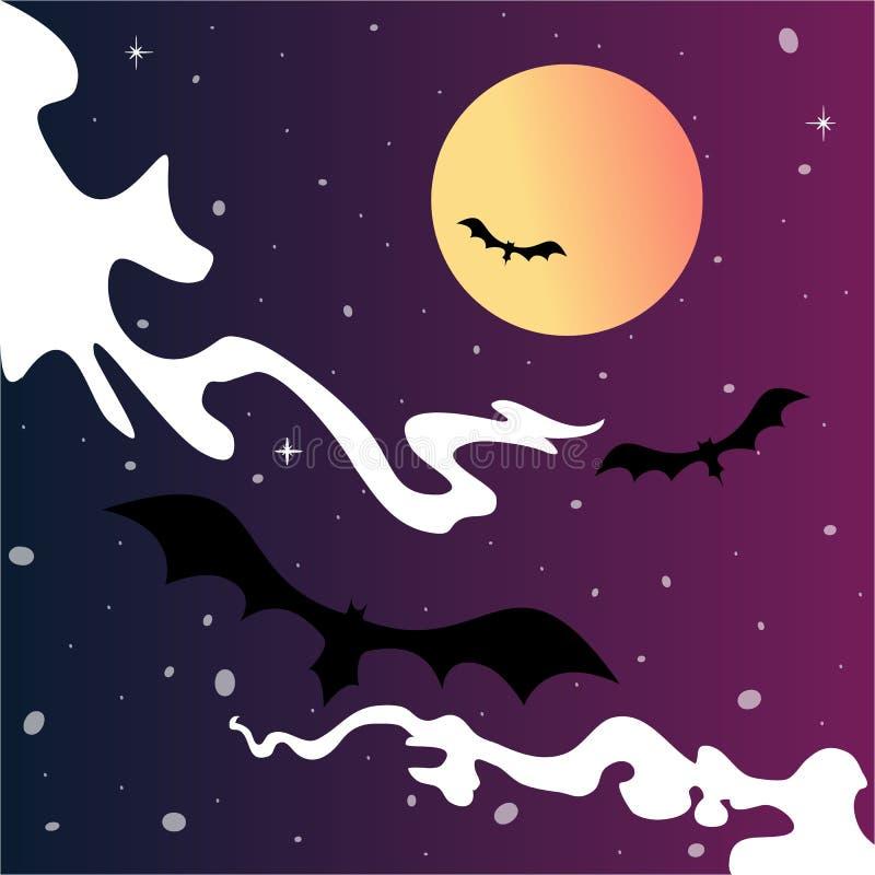 Van de het beeldverhaal leuke hemel van Halloween de enge maan en de knuppels royalty-vrije illustratie