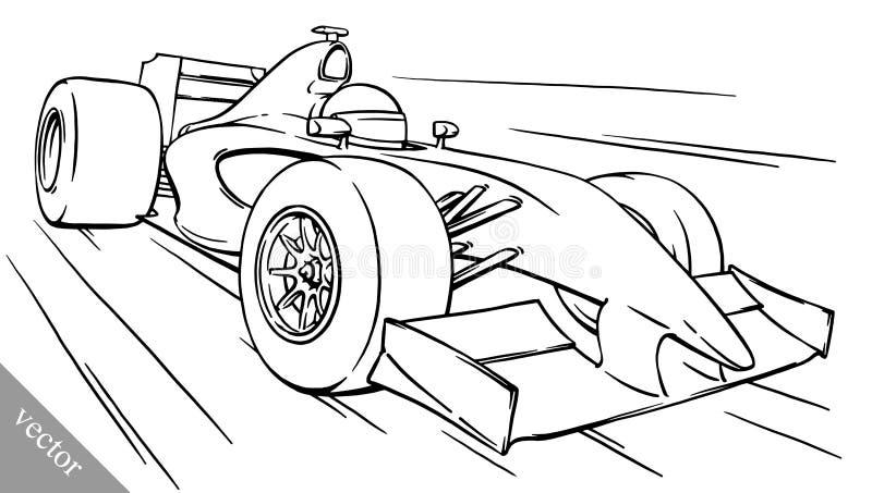 Van de het beeldverhaalformule van het kind het grappige art. van de de raceauto vectorillustratie royalty-vrije illustratie