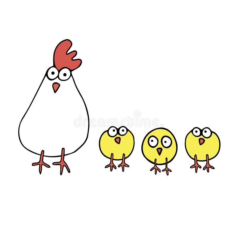 Van de het beeldverhaalillustratie van de kippenkip leuke de haan witte gradi stock illustratie