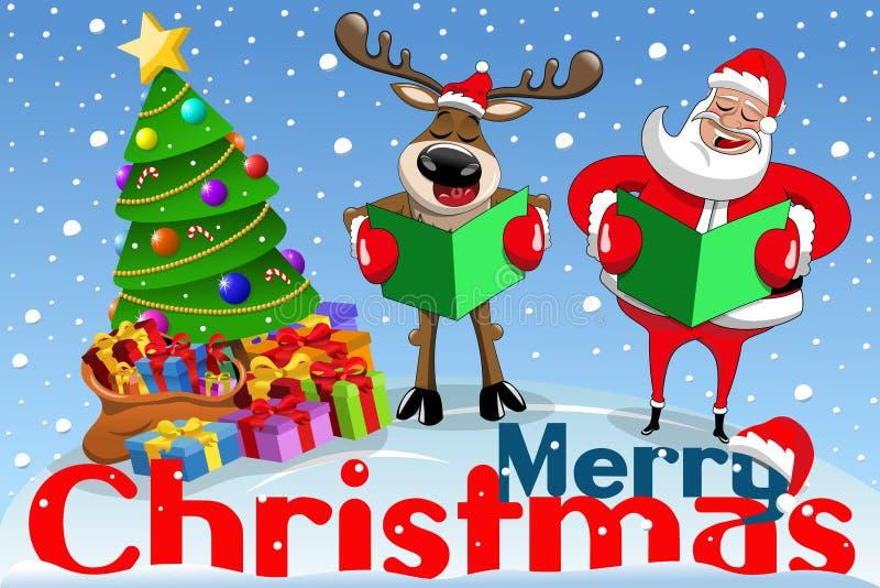 Van de het beeldverhaalkerstman van de Kerstmisbanner het rendier zingende sneeuw royalty-vrije illustratie
