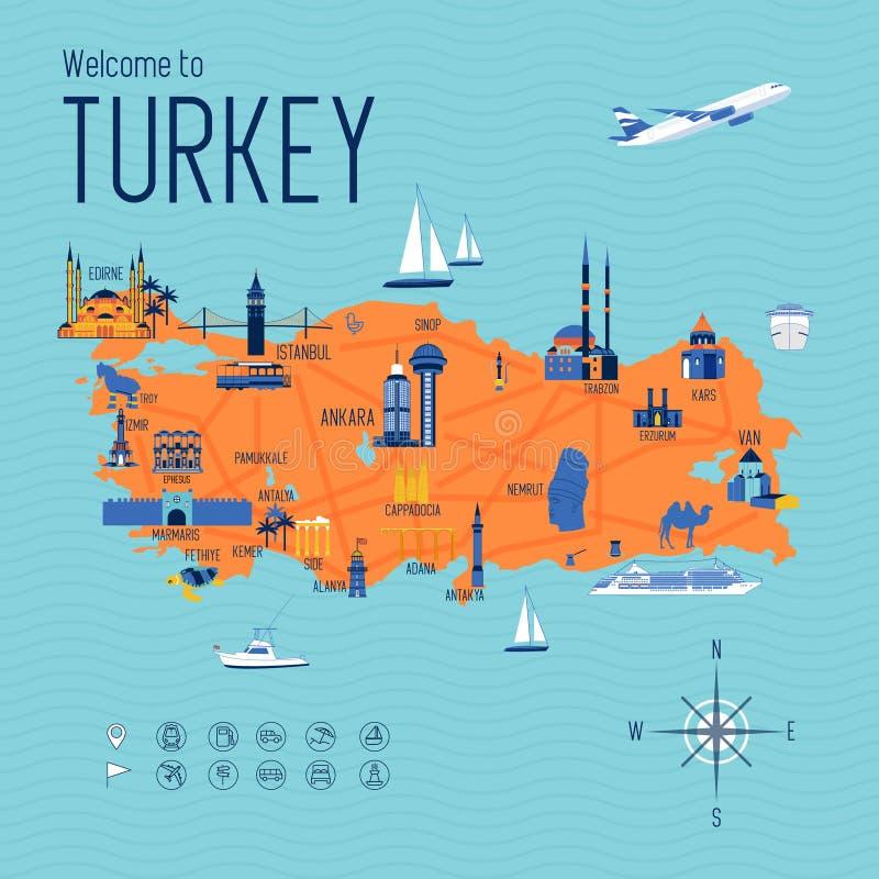 Van de het beeldverhaalreis van Turkije de kaartillustratie royalty-vrije stock fotografie