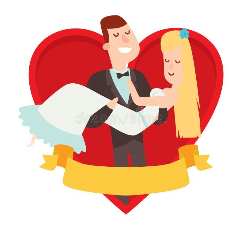 Van de het beeldverhaalstijl van huwelijksparen de vectorillustratie stock illustratie
