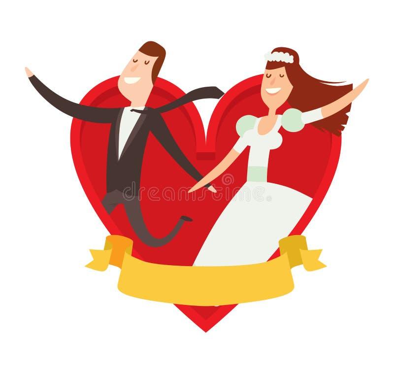 Van de het beeldverhaalstijl van huwelijksparen de vectorillustratie vector illustratie