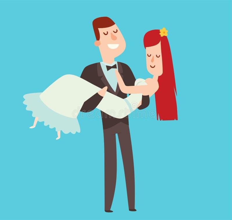 Van de het beeldverhaalstijl van huwelijksparen de vectorillustratie royalty-vrije illustratie