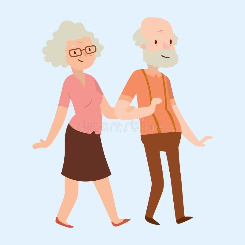 Van de het beeldverhaalverhouding van het mensen de gelukkige paar van de de karakterslevensstijl vectorillustratie ontspannen vr vector illustratie