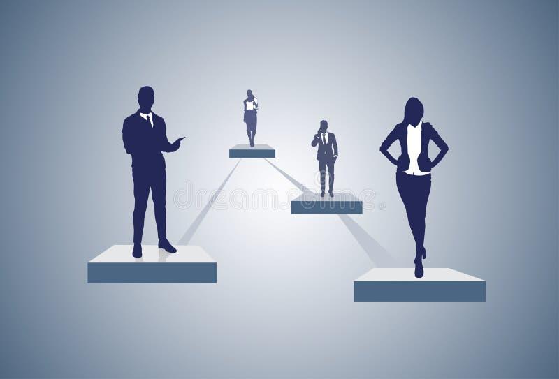 Van de het Beheersorganisatie van de bedrijfstructuur van het de Grafieksilhouet van de het Zakenluigroep de Mensenteam stock illustratie