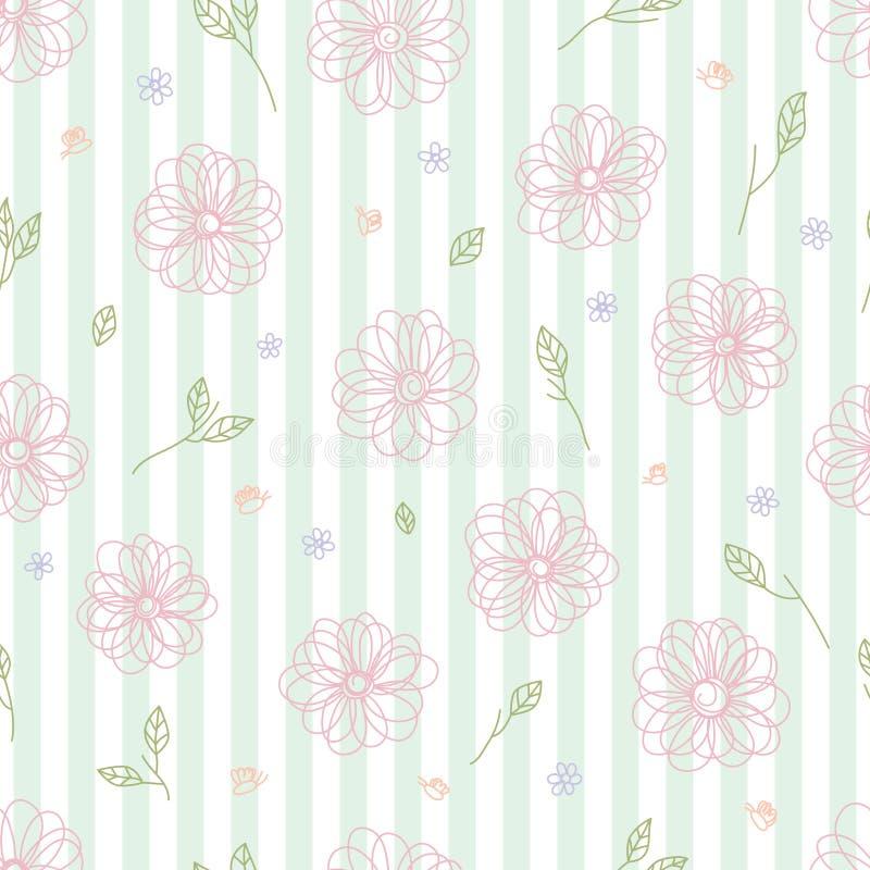 Van de het bladlijn van de bijenbloem van het de pastelkleurgordijn het verticale naadloze patroon stock illustratie