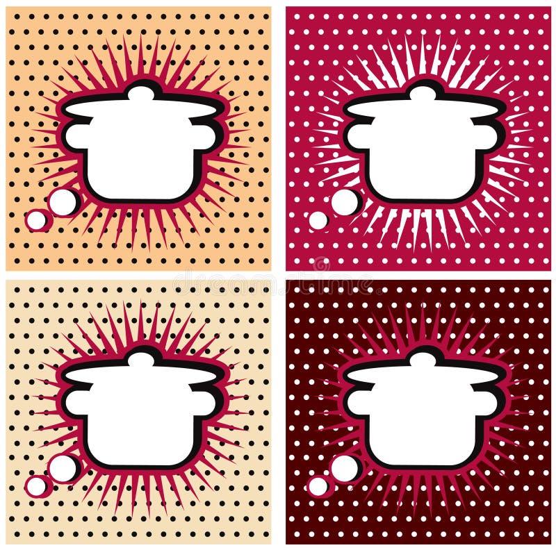 Van de het boekKeuken van het pop-art Grappige kokende het tekenpan of braadpan, grappige boekstijl. Voeg uw embleem of tekst toe stock illustratie