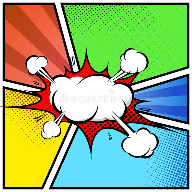Van de het boekstijl van de explosiewolk het abstracte grappige malplaatje van de het kaderpagina royalty-vrije illustratie